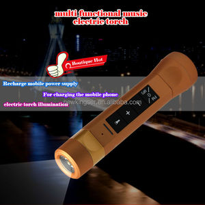 Multi-function music torch speaker with MP3 player/FM radio/power bank speaker
