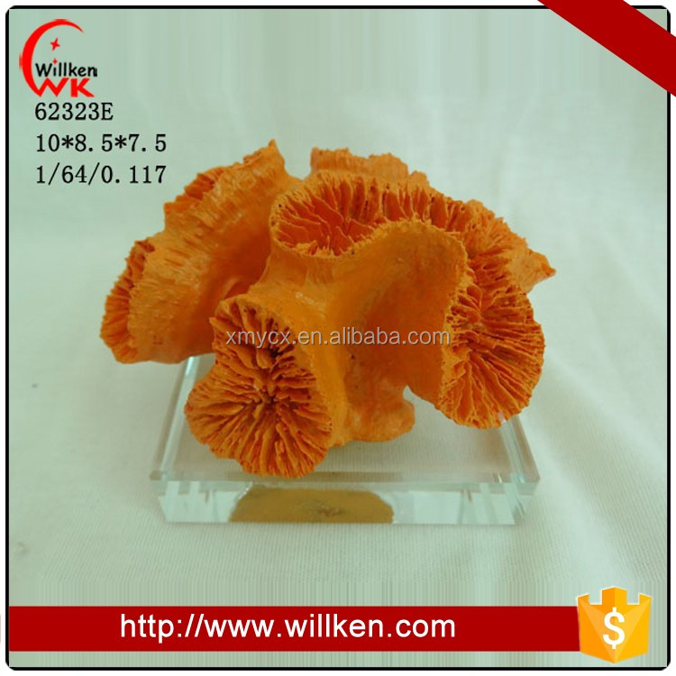 Orange coral decoration with clear base resin crafts