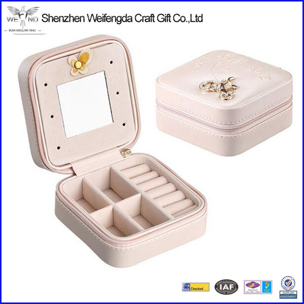 Portable travel jewelry box deluxe leather jewelry case organizer wholesale jewelry display case