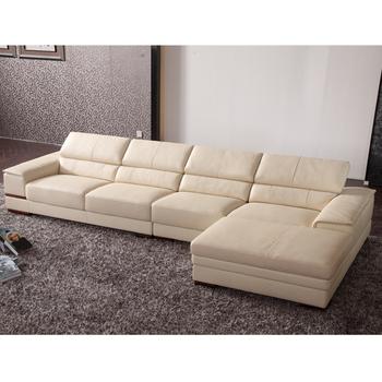 Shape Wooden Luxury Leather Corner Sofa