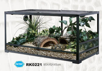 Sliding Door Knock Down Glass Terrarium For Reptile Animal