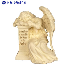 Wholesale home indoor decorative small resin angel pillar statue