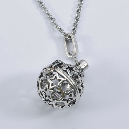 Antique Silver Cage Locket Sounded Ball Necklace Charm Jewelry Pendant