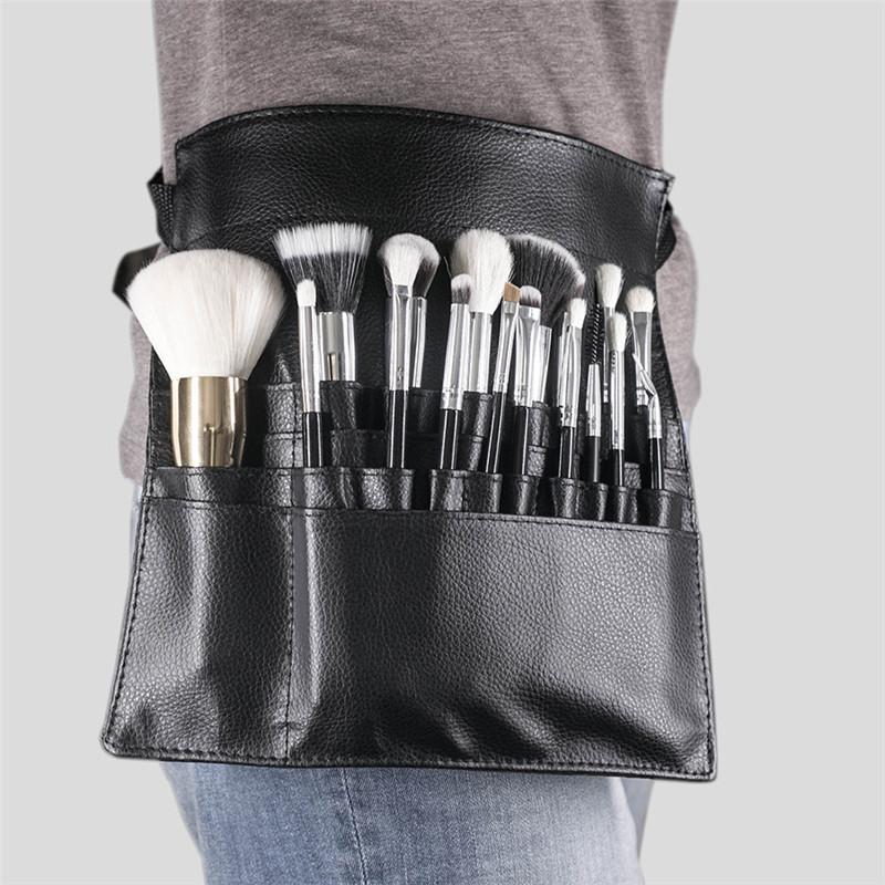 Black Professional Makeup Belt Bag PU Leather Cosmetics Waist Brush Roll Bag