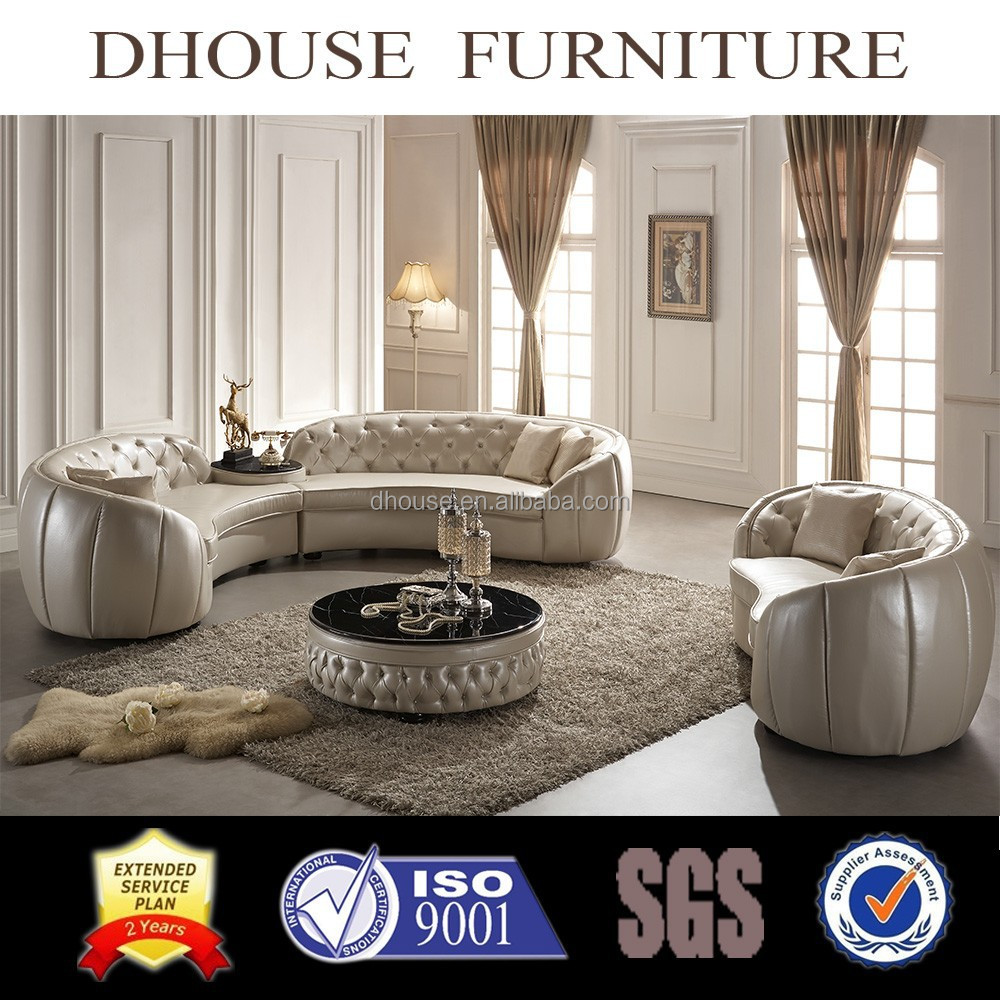 European New Clic Round Corner Leather Sofa Set Al190 Luxury Bright Colored Indoor Product On