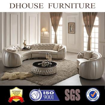 European New Clic Round Corner Leather Sofa Set Al190 Luxury Bright Colored Indoor Product On