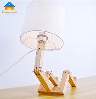 New design intelligent personality human solid wood desk lamp folded with fancy leg