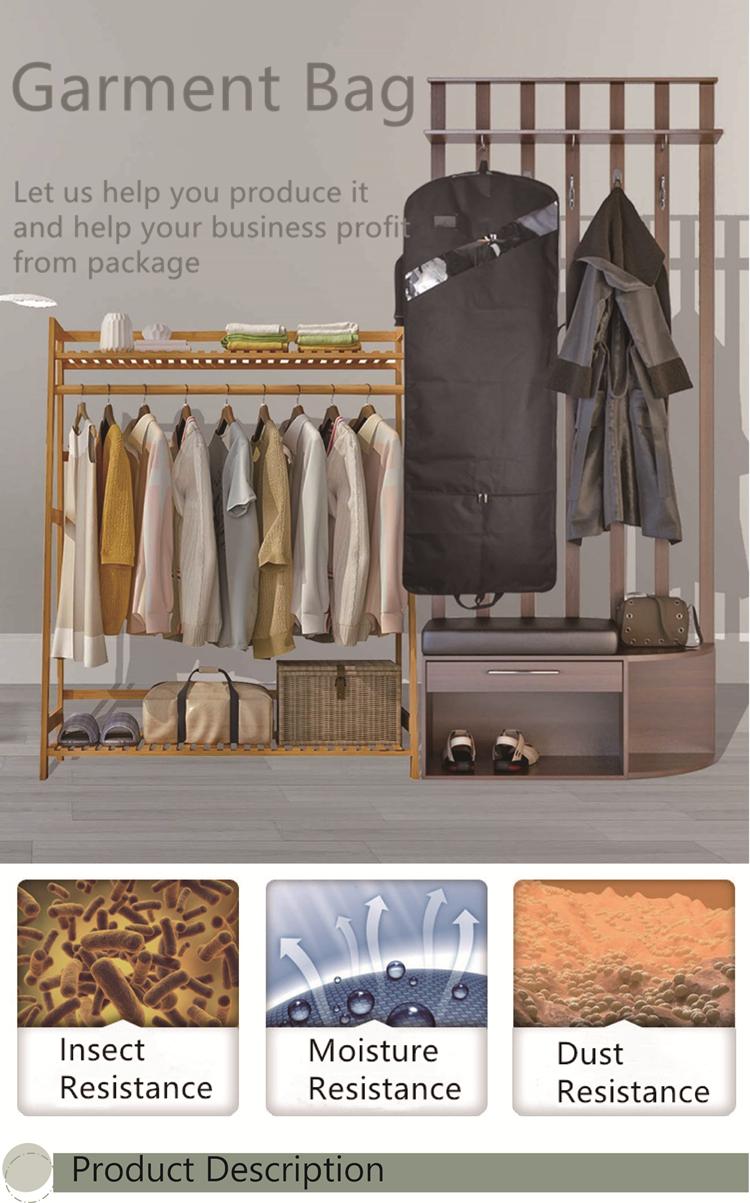 Soffietto di Viaggio saco de roupa Traspirante Suit Garment Copertura per Camicie Abiti Cappotti, Nero