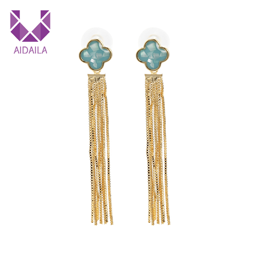 Alibaba.com / AIDAILA Wholesale Four Leaf Clover Shape Gold Long Women Tassel Earrings