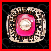 Baseball all star championship ring with gold plating setting with big pink stone
