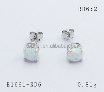 925 Sterling Silver White Fire Opal Stud Earring With Rhodium Plated Round 6mm Cabochon