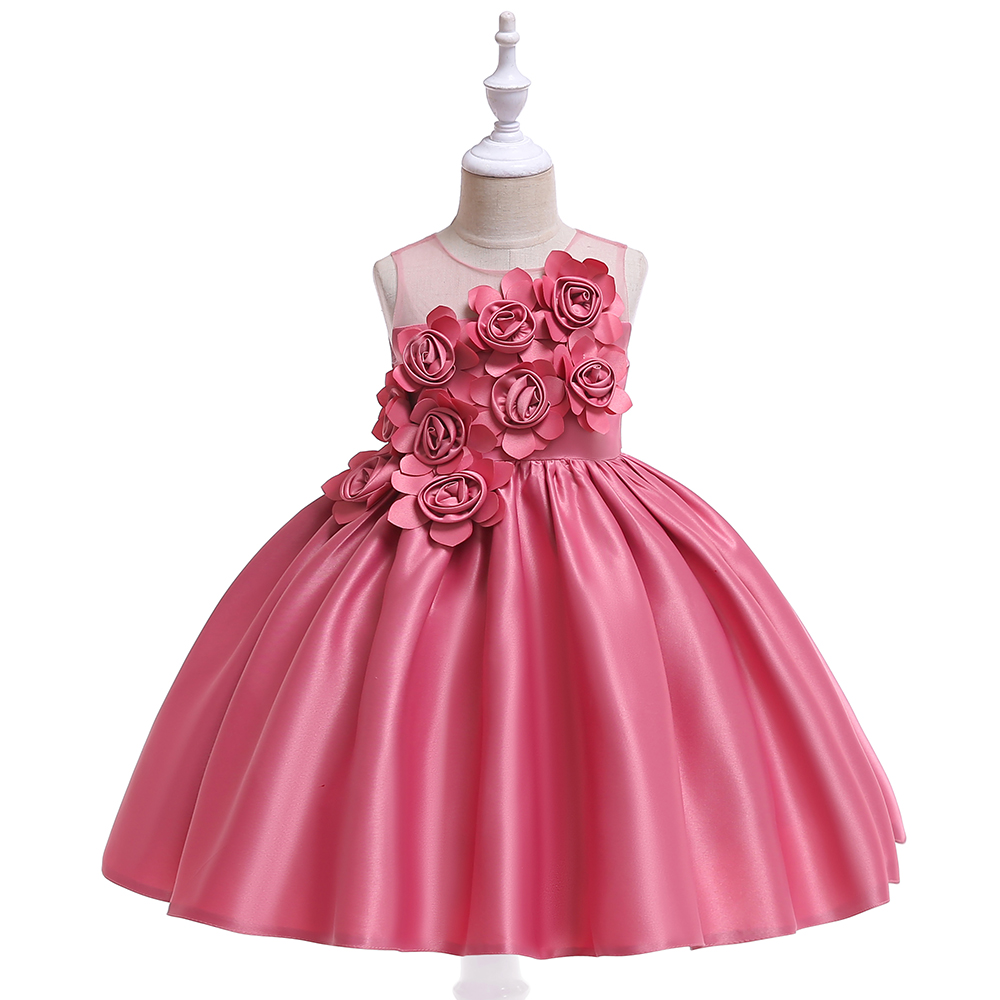 New ball grown summer kid girl flower pretty princess wedding satin party dresses фото