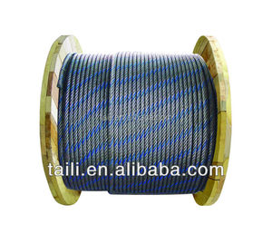 DIN3066 6X37+IWRC galvanized and ungalvanized steel wire rope with one blue strand price