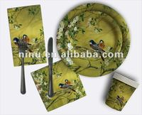 YLPP120-033 fancy paper plates,custom printed disposable paper plates
