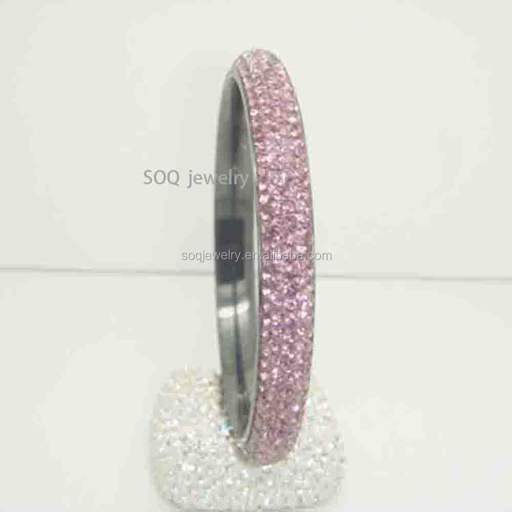 SG480410057 SOQ Stainless Steel Women Fashion Bangle with Pink Crystal Beads Jewelry