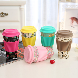 2018 Creative Bamboo Fiber made Spill Proof Water Cup Silicone Lid Cover Coffee Mug Cup