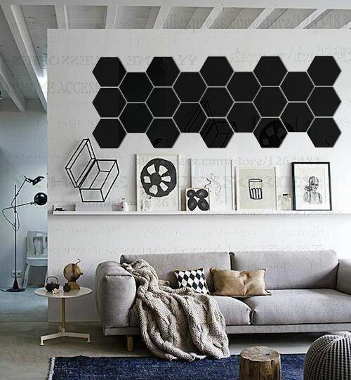 Buy DIY 3D Acrylic Mirror Wall Stickers Home Decor Simple Geometric ...