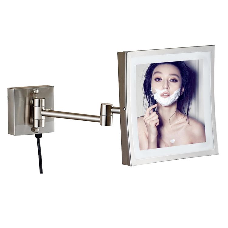 Chegada nova parede quadrado montado espelho iluminado banheiro espelho levou