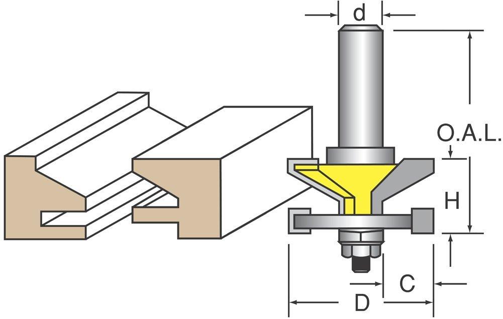 "Woodtek 820746, 5-pack , Router Bits, Door Construction, Stile & Rail Cabinet, Reversible Rail & Stile Bit, Bevel Detail 1/2"" Shk"