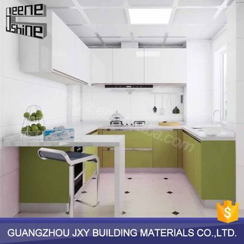 Modern design oyster green kitchen cabinets with for China kitchen cabinets direct