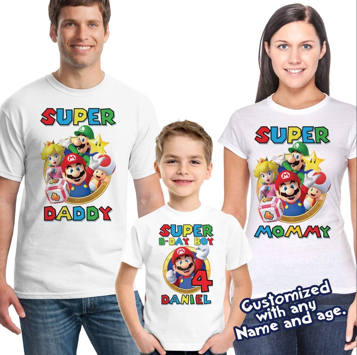 Super Mario birthday shirt with name and age, Super Mario Family Birthday shirts