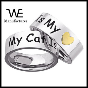 Stainless Steel 'My Cat Is My Heart' Memory Ring Jewelry