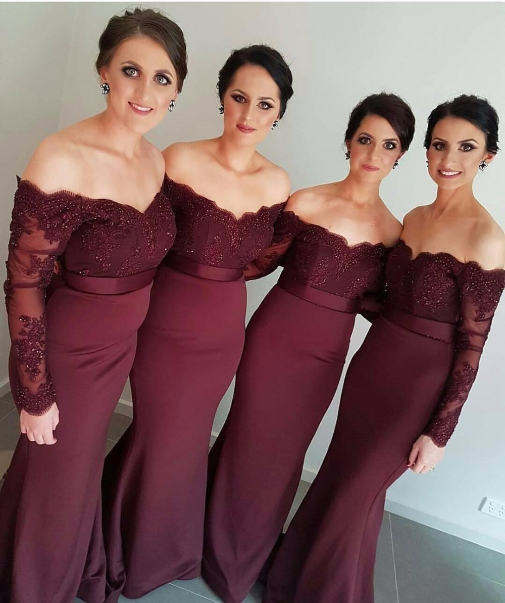 Long Sleeves Mermaid Bridesmaid Dresses 2016 Dark Red
