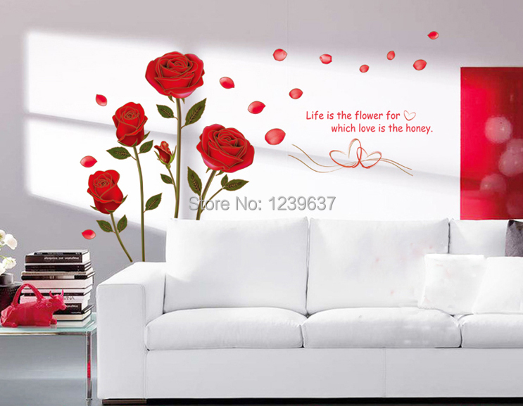 Romantic red rose flowers wall decals living room bedroom - Removable wall stickers living room ...