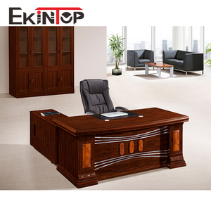 Ekintop latest designs wooden director executive l shaped office table with drawer