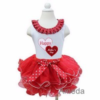 Red White Petal Tutu with Happy Mother's Day Double Heart White Tank Top