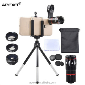 hot sale mobile phone gadget in USA 2017 Apexel new lens kit 4 in 1 0.63x wide angle 10x zoom telephoto lens for iphone lens