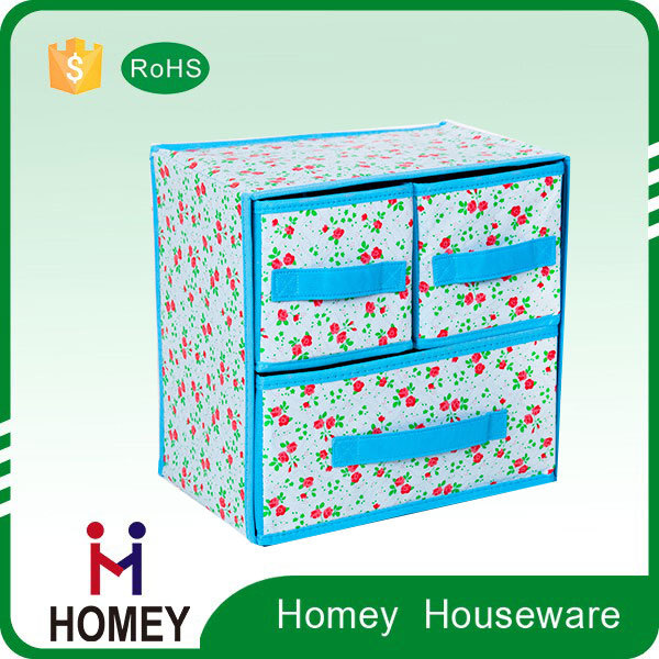 2 tier 3 drawers non woven foldable storage box