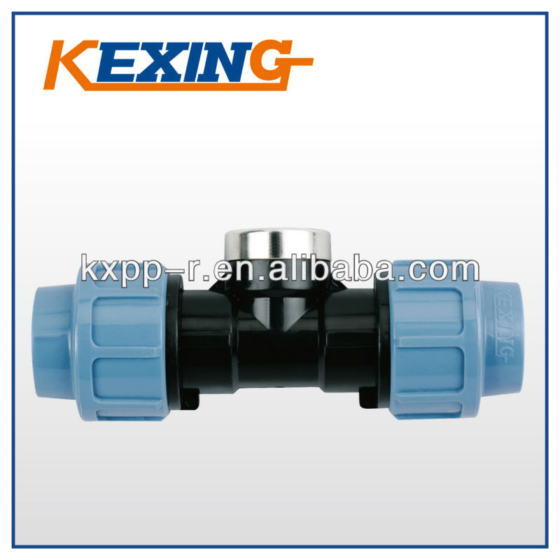 good quality PP Compression Fittings 90 degree tee with threaded female take off