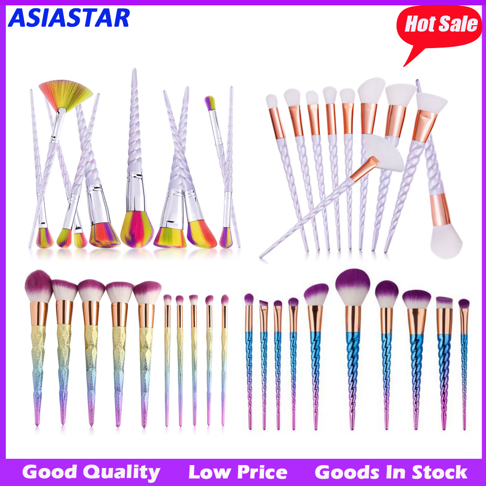 NEW Arrival 10pcs Rainbow Synthetic Hair Unicorn Makeup Brush Set handle Cosmetic makeup brushes