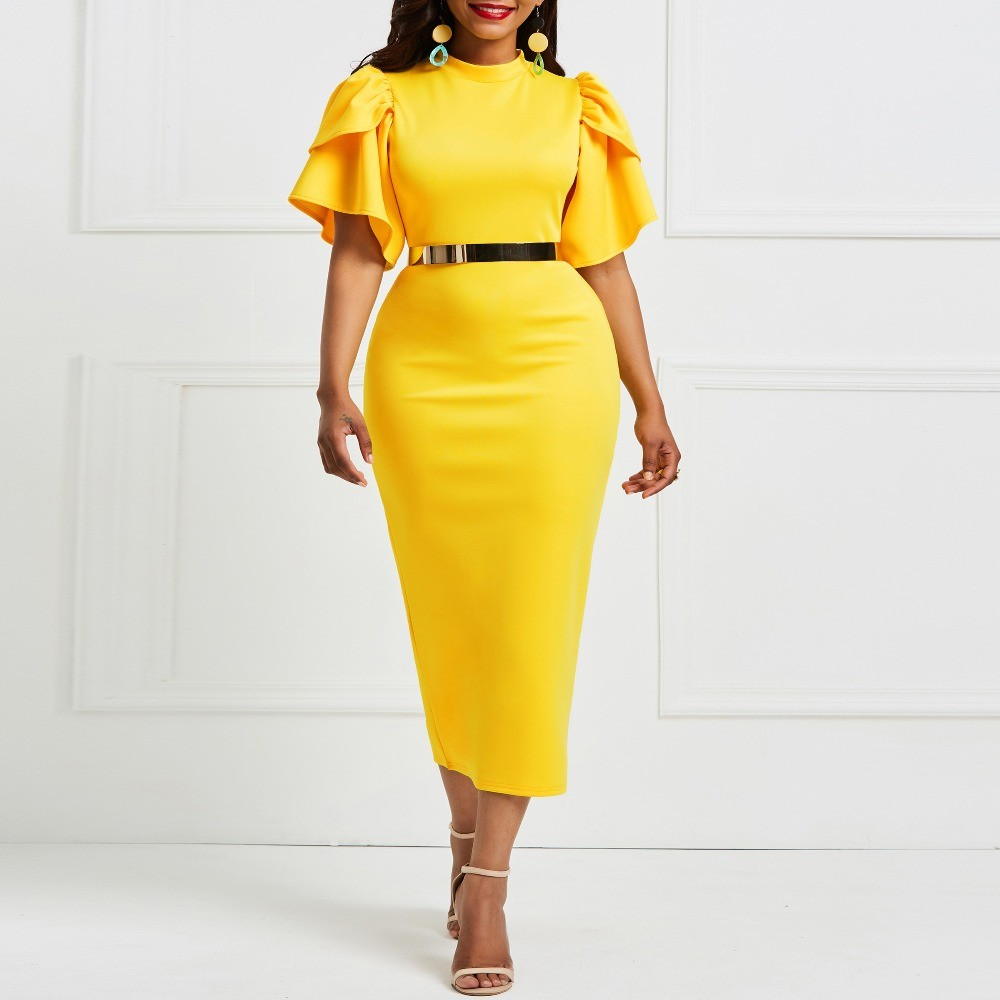 2019 women office dress ladies yellow dress working girl ruffle zipper plus size evening summer bodycon midi dress