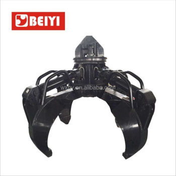 BEIYI BY1000H excavator parts 5 Teeth Hydraulic rotating Grapple orange peel grab for excavator