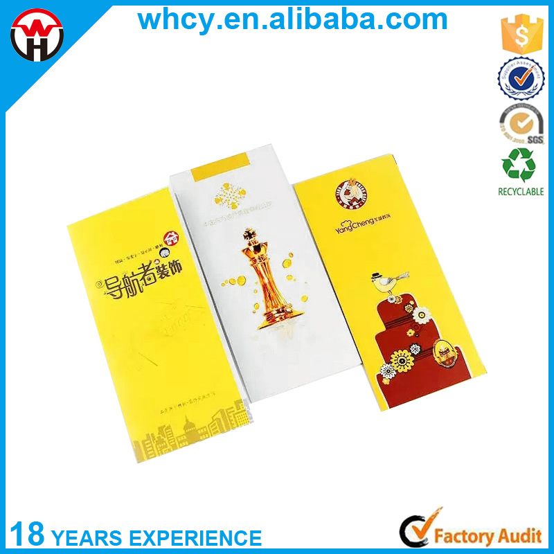 Factory Price Customized Disposable Paper Brochure Printing with Full Color Printing