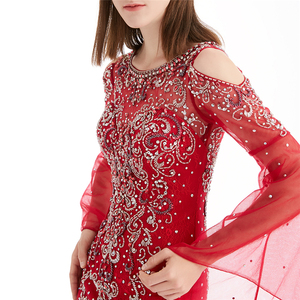 2019 Hot sale Red Long Muslim Evening Dress Lace Sleeve Abendkleid Lang Party Dress For Women Fat