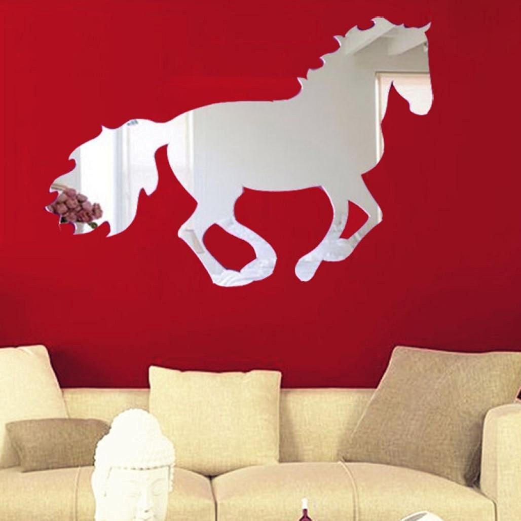 Creazy® Galloping Horse DIY Mirror Wall Clock Wall Sticker Home Decoration