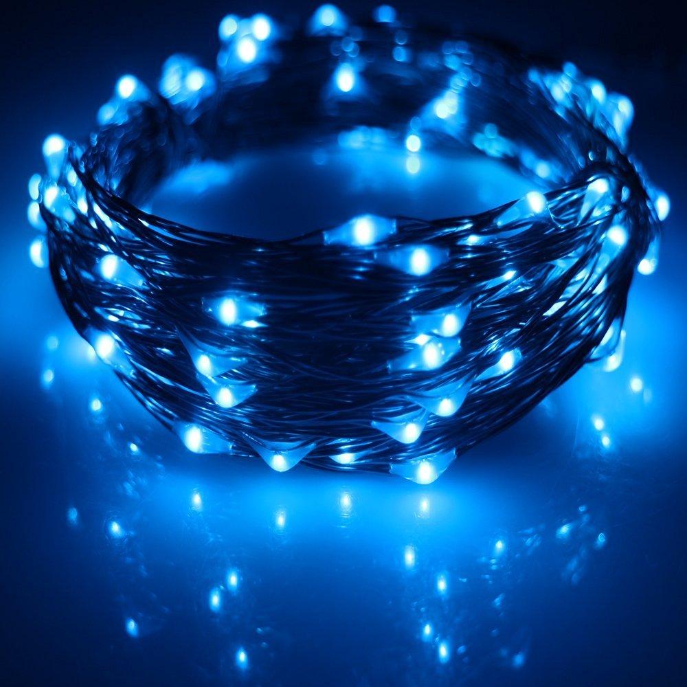 USB Led String Lights,ER CHEN(TM) 100 Leds 33Ft Waterproof Copper Wire String lights for Bedroom, Patio, Party, Wedding, Christmas Decorative Lights(Blue)