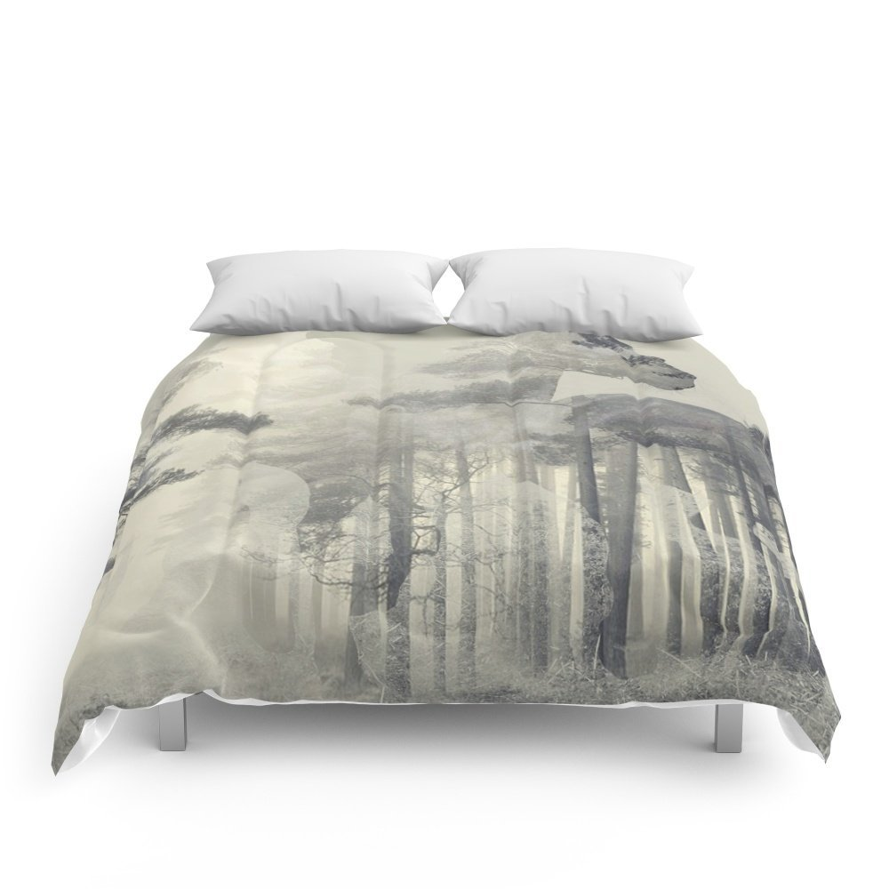 """Society6 Like A Horse In The Woods Comforters King: 104"""" x 88"""""""