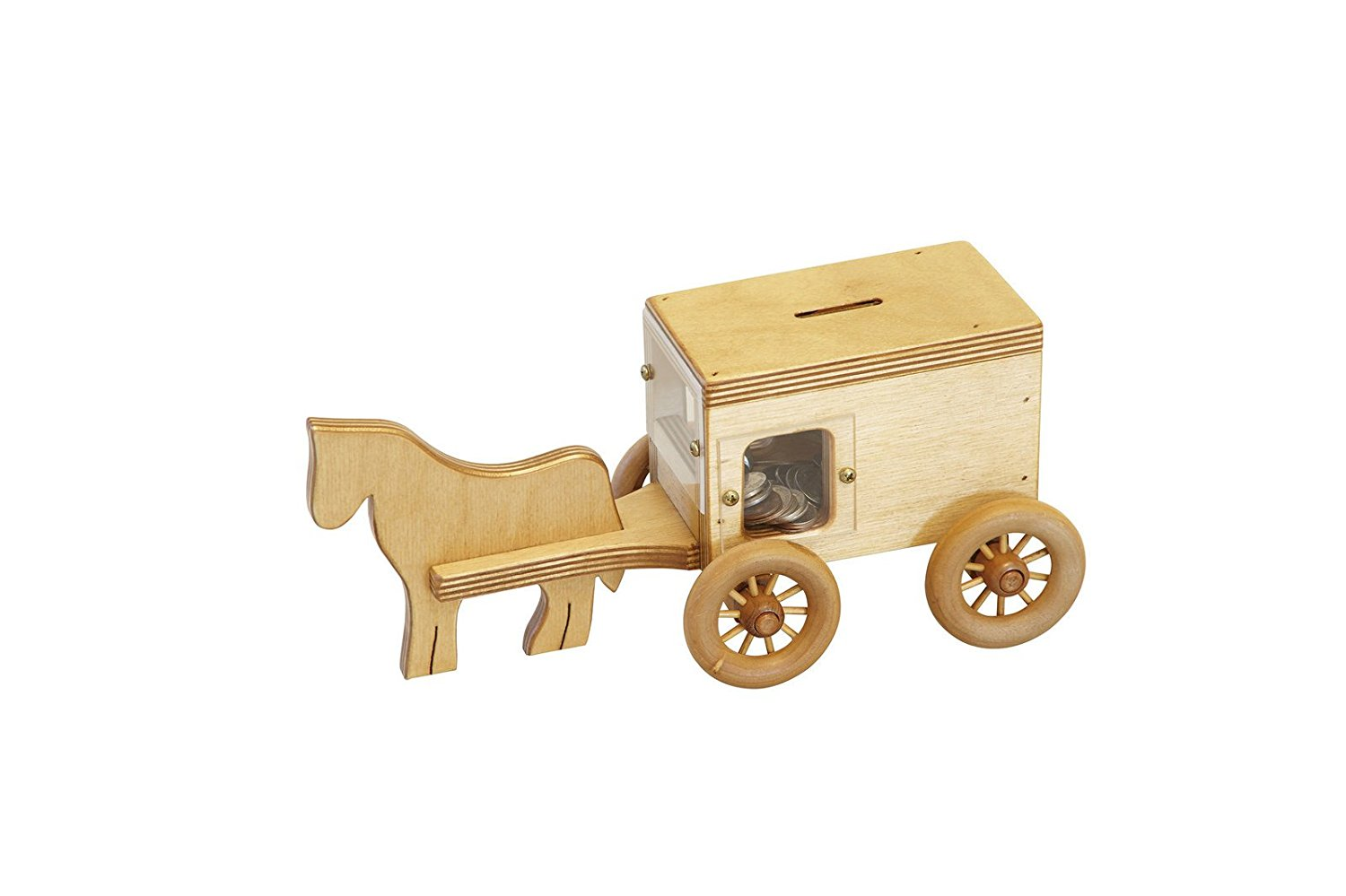 Amish-Made Wooden Toy Horse & Buggy Penny Bank