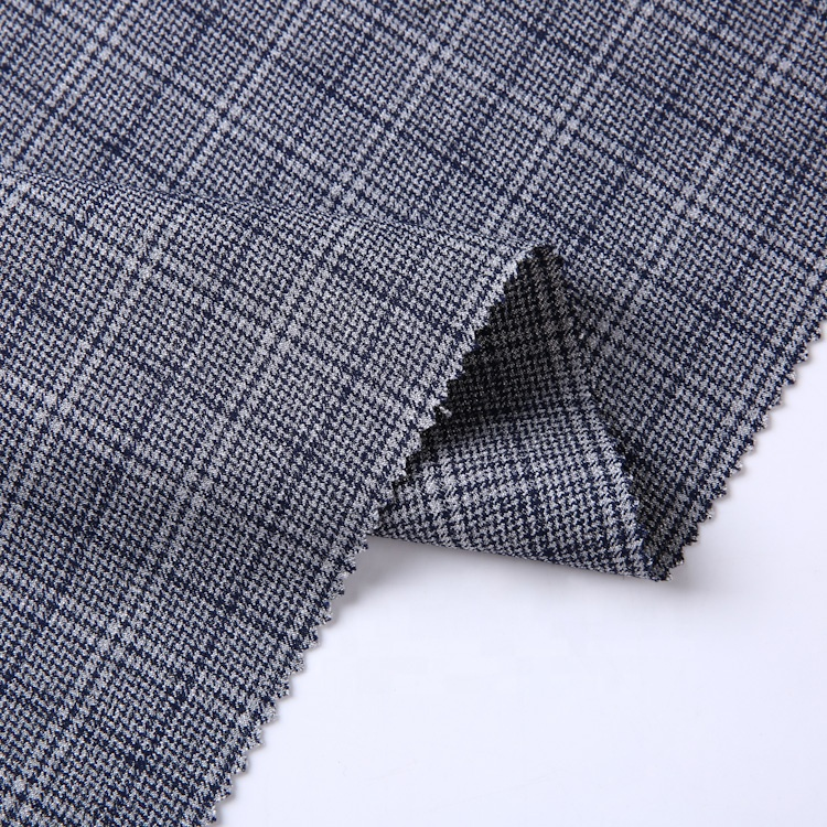 Most favorable price custom black two ways breathable stretch tr check business suit fabric
