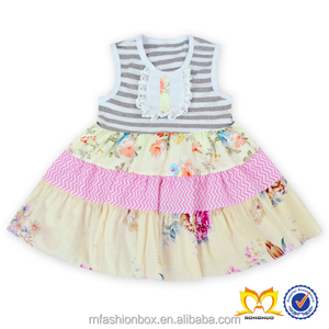 New Stripes And Flower Mixed Summer Dress baby Girls Sweet Honey Clothing Girls Boutique Dresses