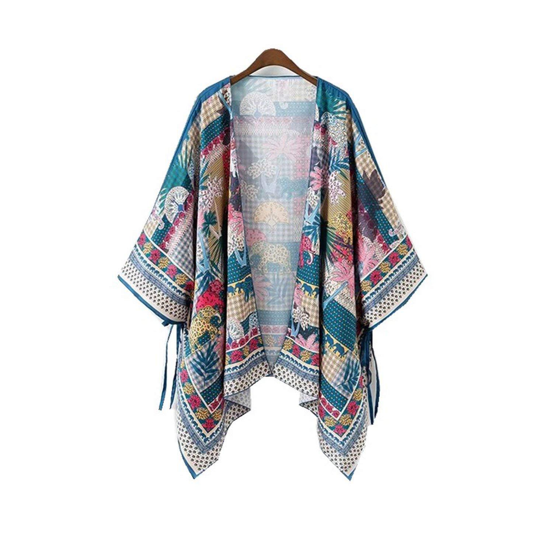8b52e569b23 Women Boho Kimono Cardigan Floral Oversized Loose Cape Coats Asymmetric  Tied Beach Casual Top Blusa