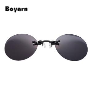 01cbe37ce8c Fashion Clip On Nose Sunglasses Men Vintage Mini Round Sun Glasses Hacker  Empire Matrix Morpheus Rimless Sunglasses UV400