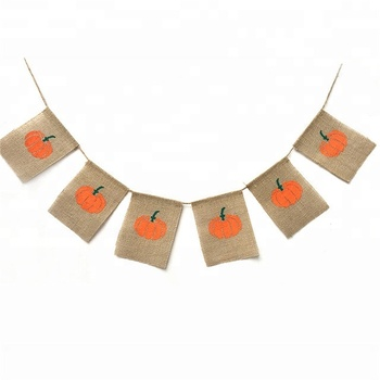 Harvest Pumpkin Burlap Banner Garland Bunting Funny Pennants for Halloween Thanksgiving Day Party Holiday Kids Decoration
