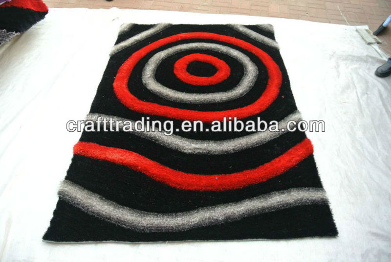 Decorative 3D Black And Red Polyester Shaggy Carpet Designs