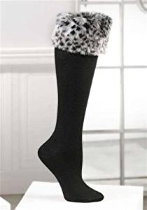 Boot Topper Fashion Socks with Faux Fur Boot Cuff