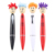 Cartoon style colorful ballpoint pen with cool expressive doll pattern wearing ties